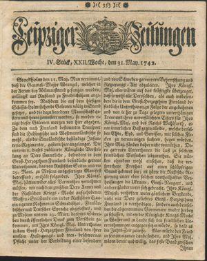 Leipziger Zeitungen vom 31.05.1742