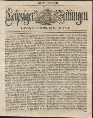 Leipziger Zeitungen vom 11.06.1742