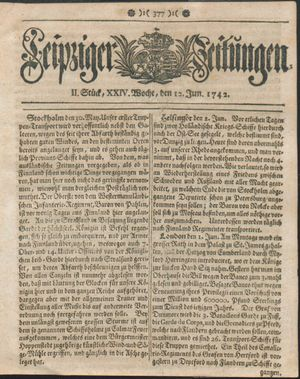 Leipziger Zeitungen vom 12.06.1742