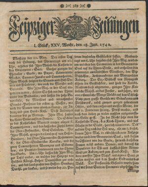 Leipziger Zeitungen vom 18.06.1742