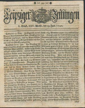 Leipziger Zeitungen vom 19.06.1742