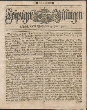 Leipziger Zeitungen vom 25.06.1742