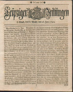 Leipziger Zeitungen vom 26.06.1742