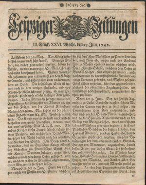 Leipziger Zeitungen vom 27.06.1742