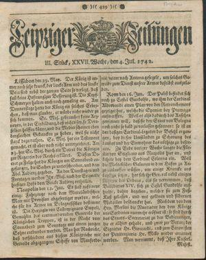 Leipziger Zeitungen vom 04.07.1742