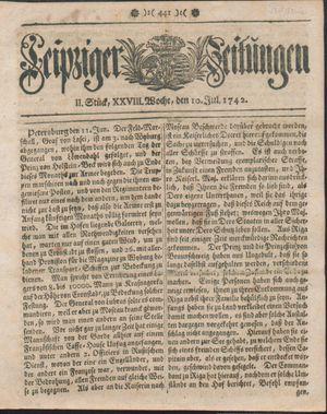 Leipziger Zeitungen vom 10.07.1742
