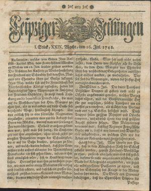 Leipziger Zeitungen vom 16.07.1742