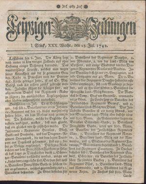 Leipziger Zeitungen vom 23.07.1742