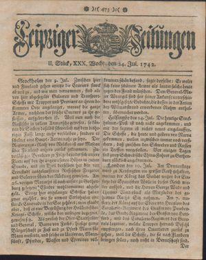 Leipziger Zeitungen vom 24.07.1742
