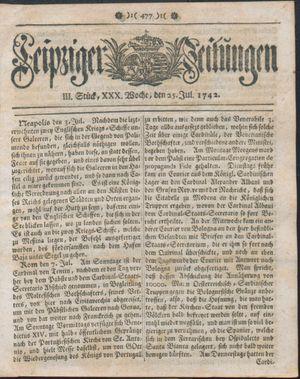 Leipziger Zeitungen vom 25.07.1742