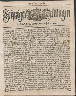 Leipziger Zeitungen vom 26.07.1742
