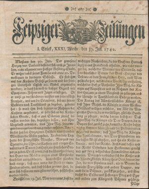 Leipziger Zeitungen vom 30.07.1742