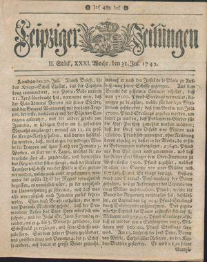 Leipziger Zeitungen vom 31.07.1742