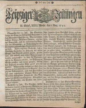 Leipziger Zeitungen vom 01.08.1742