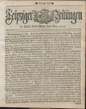 Leipziger Zeitungen vom 02.08.1742