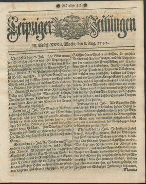 Leipziger Zeitungen vom 08.08.1742