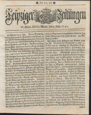 Leipziger Zeitungen vom 09.08.1742