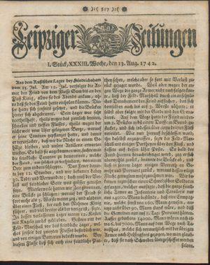 Leipziger Zeitungen vom 13.08.1742