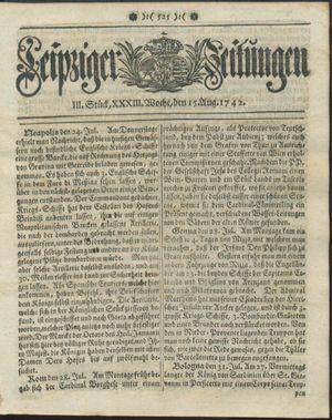 Leipziger Zeitungen vom 15.08.1742