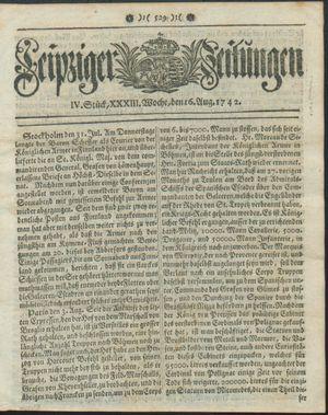 Leipziger Zeitungen vom 16.08.1742