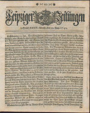 Leipziger Zeitungen vom 20.08.1742