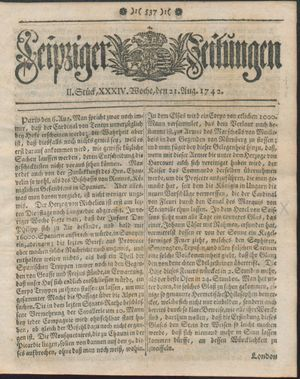 Leipziger Zeitungen vom 21.08.1742