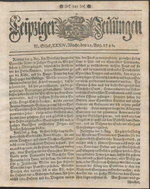Leipziger Zeitungen vom 22.08.1742
