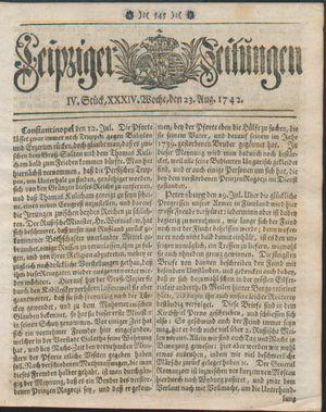 Leipziger Zeitungen vom 23.08.1742