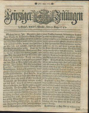 Leipziger Zeitungen vom 27.08.1742