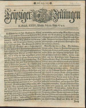 Leipziger Zeitungen vom 28.08.1742