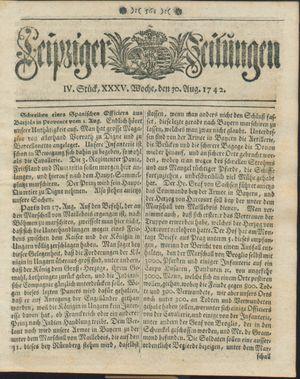 Leipziger Zeitungen vom 30.08.1742