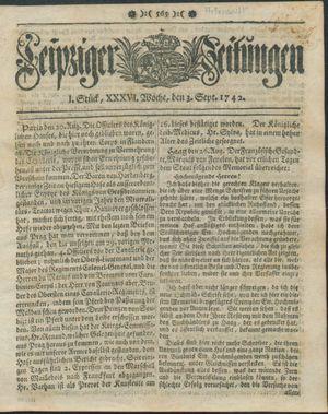 Leipziger Zeitungen vom 03.09.1742