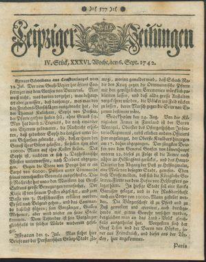 Leipziger Zeitungen vom 06.09.1742