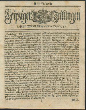 Leipziger Zeitungen vom 10.09.1742