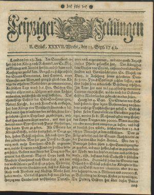 Leipziger Zeitungen vom 11.09.1742