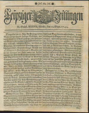 Leipziger Zeitungen vom 12.09.1742