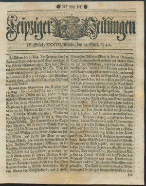 Leipziger Zeitungen vom 13.09.1742