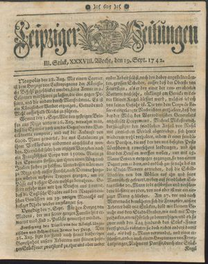 Leipziger Zeitungen vom 19.09.1742
