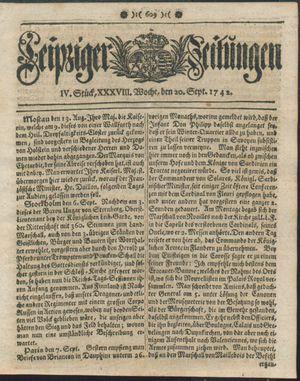 Leipziger Zeitungen vom 20.09.1742