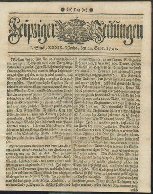 Leipziger Zeitungen vom 24.09.1742