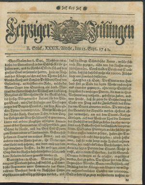 Leipziger Zeitungen vom 25.09.1742