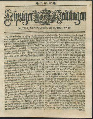 Leipziger Zeitungen vom 27.09.1742