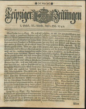 Leipziger Zeitungen vom 01.10.1742