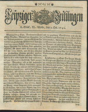 Leipziger Zeitungen vom 02.10.1742