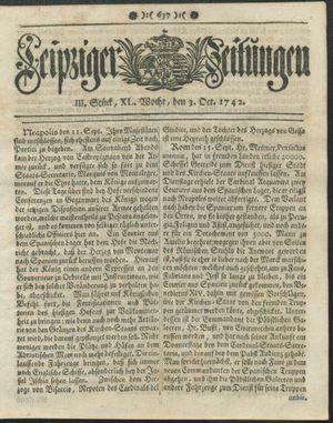 Leipziger Zeitungen vom 03.10.1742