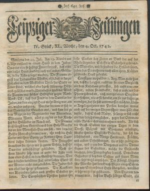 Leipziger Zeitungen vom 04.10.1742