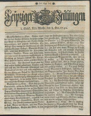 Leipziger Zeitungen vom 08.10.1742