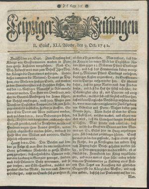 Leipziger Zeitungen vom 09.10.1742