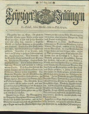 Leipziger Zeitungen vom 10.10.1742