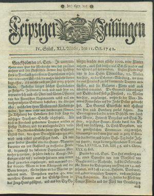 Leipziger Zeitungen vom 11.10.1742